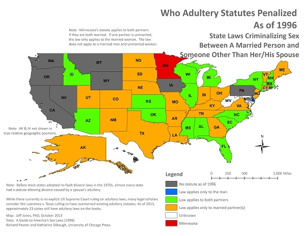This map shows adultery statutes in the United States in 1996 and who they penalized. from wiki