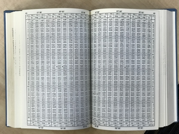糟糕,國中老師沒有教sin(21.8269° )怎麼算! 在沒有電腦的時代, 有這種厚的像枕頭一樣的書, 裡面列出幾百頁三角函數的表, 讓你自己查。 書名:LOGARITHMIC TRIGONOMETRICAL TABLES TO EIGHT DECIMAL PLACES, 3RD EDITION, 1958