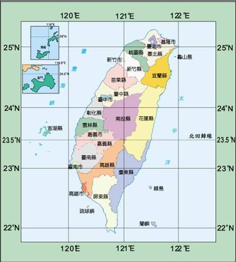 有經緯度的台灣地圖