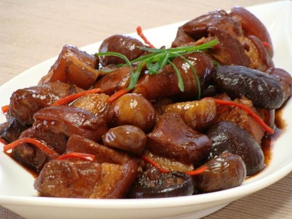 香菇栗子燒肉、泰式涼拌海鮮 & 糖地瓜 - 在沙加緬度 ...