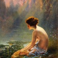 Seated Nude at Lily Pond, Louis Tiffany