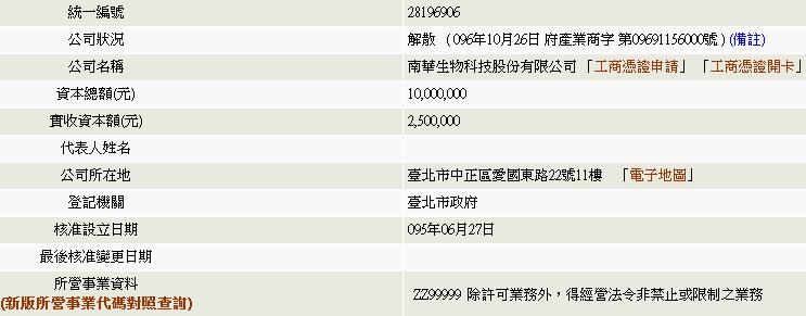 南華生技基本資料