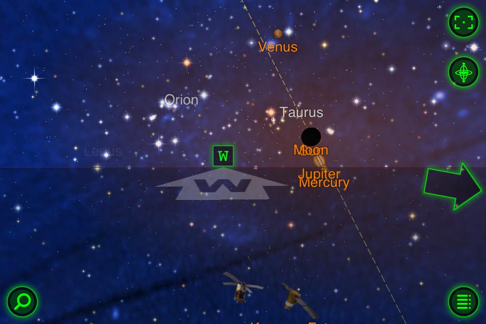 iPhone上觀看星座的應用程式顯示出月亮和太陽重疊在一起