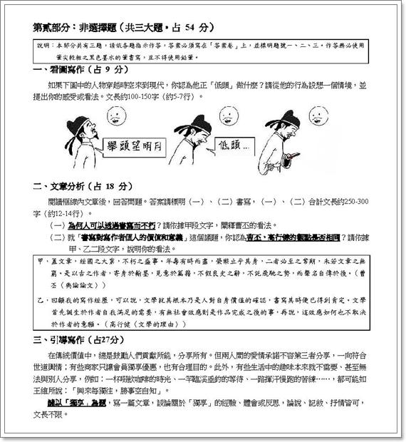 【大學指考】國文寫作獨立測驗之我見