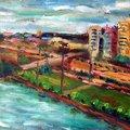 油畫創作--三義西湖