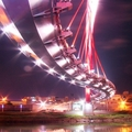 位於松山火車站對面的饒河街夜市基隆河河堤上。