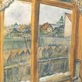 攝影的景象-馬克 夏卡爾的作品-窗外維特巴斯克的景象-於1914-45年完成,現收藏於莫斯科的特瑞提亞可夫畫廓。這是一幅相當寫實的描寫-夏卡爾住處窗外景色的作品 窗內的油燈和刺繡窗簾布,窗外花園的景象,還有遠處的房維特巴斯克的教堂等,都被很仔細地描繪出來 使得整幅畫呈現出像攝影作品一股的清晰