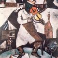 提琴家-和真人比起來,這位綠臉巨大的小提琴家像是一位夢想中的人物。小提琴家為生日、婚禮及葬禮演奏等,一直是哈希狄斯的猶太信徒傳統。在許多夏卡爾的作品之中,小提琴家卻成了神話故事中,經常出現的守護天使。早期在巴黎的夏卡爾,開始展開他重建家鄉俄羅斯的記憶。根據立體主義畫家的說法,「小提琴家」和夏卡爾其他的作品一樣,呈現的是