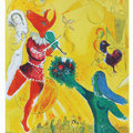 , Chagall was commissioned to make two murals to decorate the auditorium of the newly opened Watergate Theatre in London. Chagall loved both the theatre and the