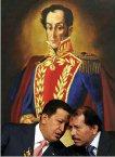 委內瑞拉的查維茲總統與參選尼加拉瓜總統的Ortega在領導南美革命的Bolivar像前商議