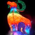 台中燈會,吉羊納百福,以「金羊獻瑞、五穀豐收」為設計精神,代表社稷安寧。主燈旋轉時象徵臺灣不斷向上發展高陞。(本圖片為筆者所拍攝)