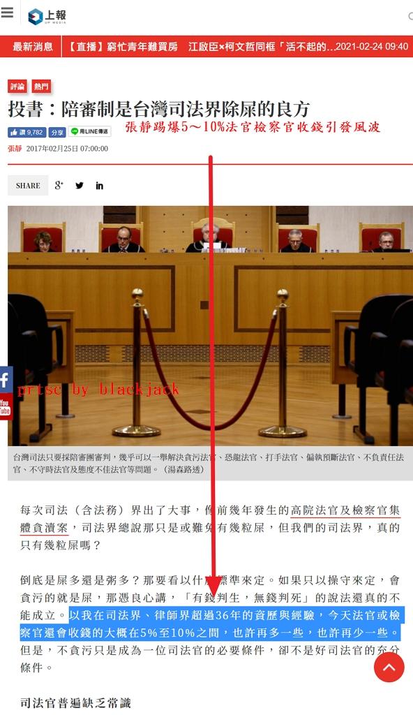張靜踢爆5~10%法官檢察官收錢引發風波