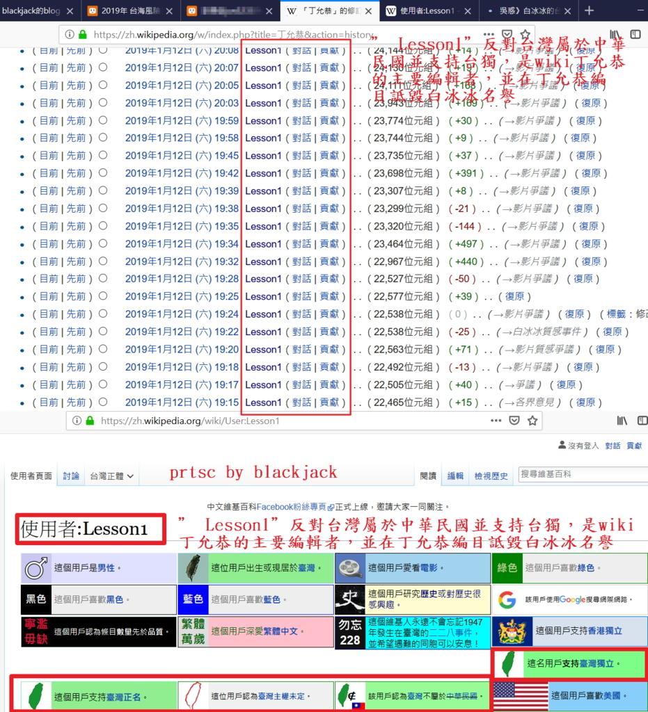 """Wiki編目者"""" Lesson1""""反對台灣屬於中華民國並支持台獨,是wiki丁允恭的主要編輯者,並在丁允恭編目詆毀白冰冰名譽"""