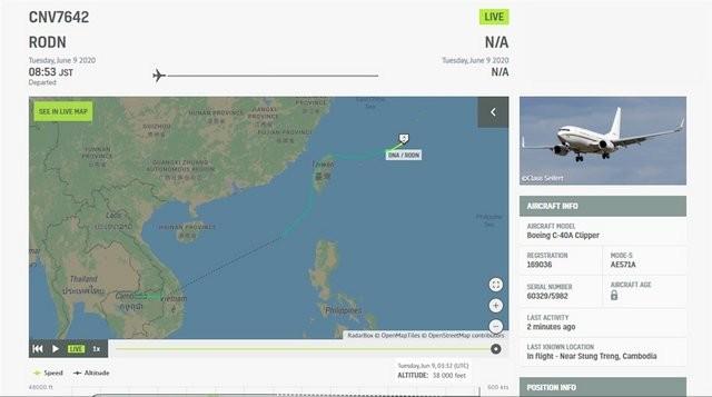 """美軍1架C-40A""""快船""""運輸機9日上午從日本沖繩起飛,罕見自基隆航向台灣西海岸,穿越台灣領空,並自台南外海離去。"""