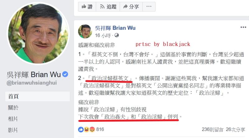 吳祥輝說蔡英文「政治淫婦」