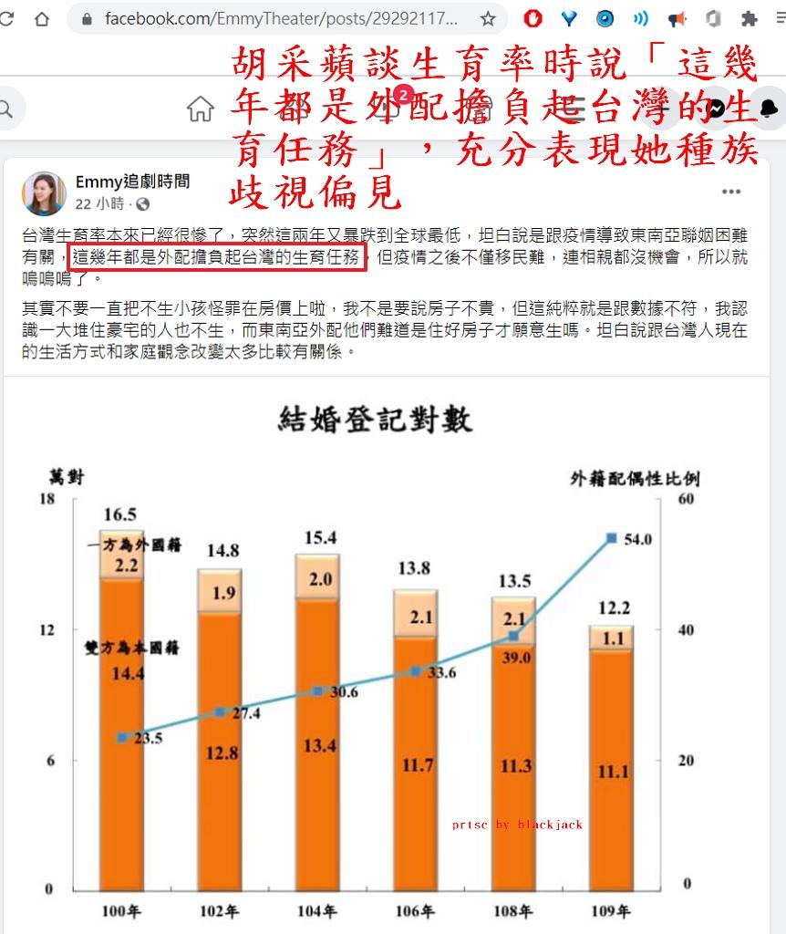胡采蘋談生育率時說「這幾年都是外配擔負起台灣的生育任務」,充分表現她種族歧視偏見