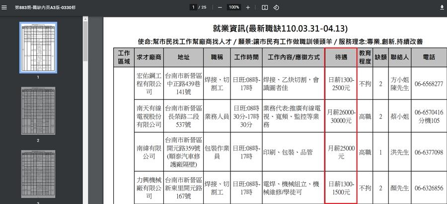 就業服務台 _ 臺南市政府勞工局職訓就服中心 最新職缺