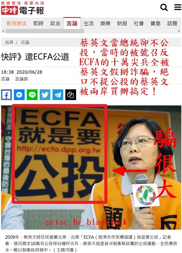 蔡英文從「ECFA就是要公投」到「就是不敢公投」,再次見證兩岸買辦集團連台灣總統都能改變