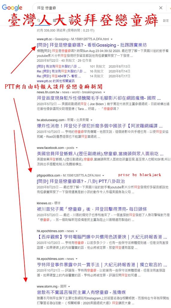 臺灣人指控美國總統當選人拜登為戀童癖
