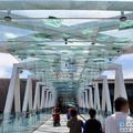 玻璃帷幕的設計可以減少熱輻射,預防烈日直曬,上頭還有一些傳統剪紙的轉化圖案