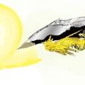 他手上也跟著閃過兩轉金色光芒,耀眼奪目。