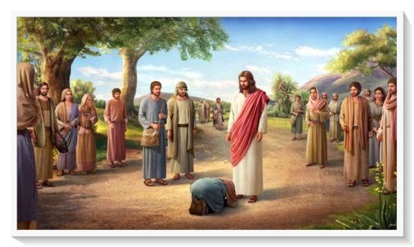 馬利亞跪在主耶穌面前