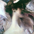 Young woman's head on a pink background, 1912, Giovanni Boldini