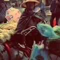 披著簡易黑色大塑膠袋,冒著時大時小的寒流雨,兜售三星蔥和大蒜苗的在地農婦。