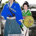 (571)坂本龍馬與妻子新婚旅行記念立牌