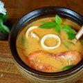 ~羅勒番茄海鮮湯~ 有時一鍋濃濃的羅勒番茄海鮮湯下烏龍麵,能擋住外面凜冽的北風寒冷。